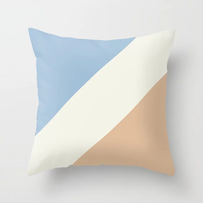 Pastel Blue Off White Peach Stripe Pattern Throw Pillows inspired by and pairs to (matches / coordinates with) Dutch Boy 2021 Color of the Year Earth's Harmony & Accent Hues