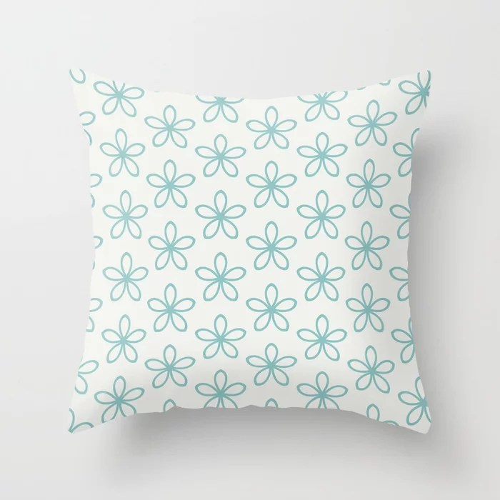 Aqua and White Minimal Flower Pattern Color of the Year Aqua Fiesta and Delicate White Throw Pillow