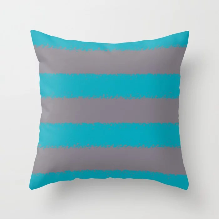 Blue-Green Gray Minimal Sponge Stripe Pattern 2021 Color of the Year AI Aqua 098-59-30 Throw Pillow