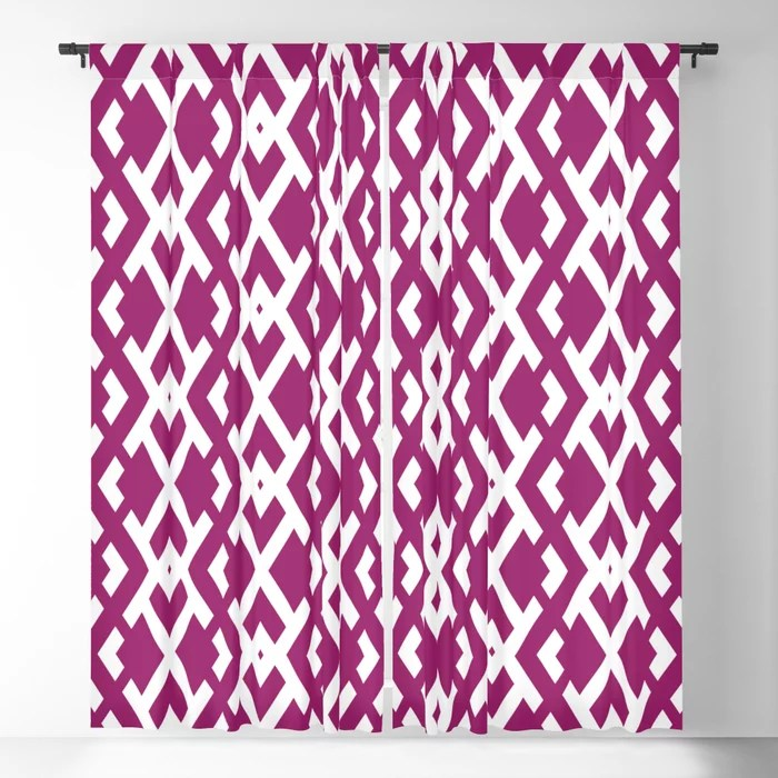 Magenta and White Diamond Vertical Zig Zag Pattern - Colour of the Year 2022 Orchid Flower 150-38-31 Blackout Curtain - 2022 color trends interior design