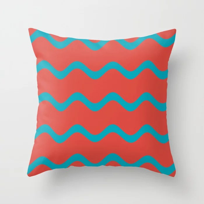 Teal and Red Wavy Horizontal Stripe Pattern 2021 Color of the Year AI Aqua and Oxy Fire Throw Pillow
