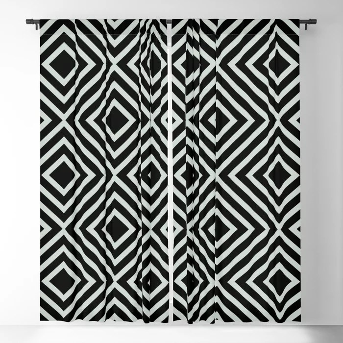 Pastel Green and Black Square Line Art Pattern Pairs Behr 2022 Color of the Year Breezeway MQ3-21 Blackout Curtain. Decorating colors for 2022