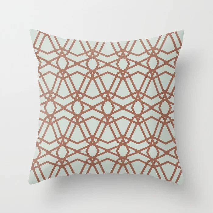 Pastel Green and Clay Line Geometric Pattern Pairs Behr 2022 Color of the Year Breezeway MQ3-21 Throw Pillow. 2022 color scheme, trending interior design hue.