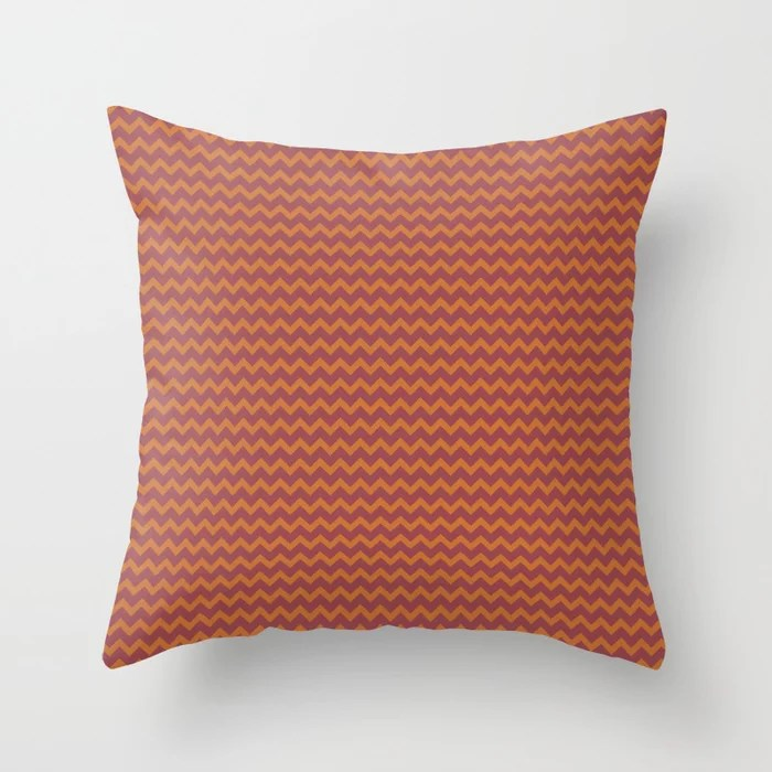 Red and Orange Chevron Zigzag Line Pattern 2021 Color of the Year Passionate and Copper Kettle Throw Pillow