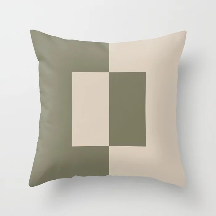 Light Beige Green Minimal Square Design: Hues were inspired by and match (pair / coordinate with) 2021 Color of the Year Uptown Ecru and Sage Throw Pillow