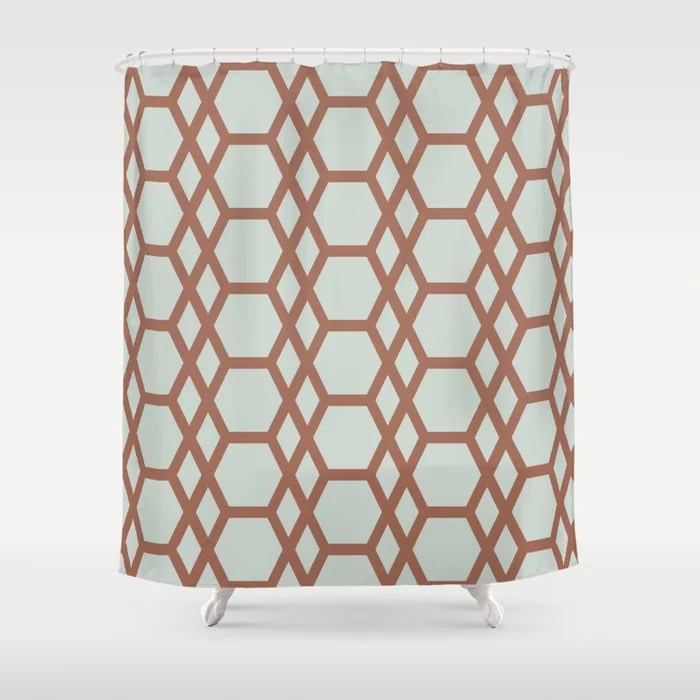 Mint Green and Terracotta Tessellation Pattern 13 Behr 2022 Color of the Year Breezeway MQ3-21 Shower Curtain. 2022 color trend