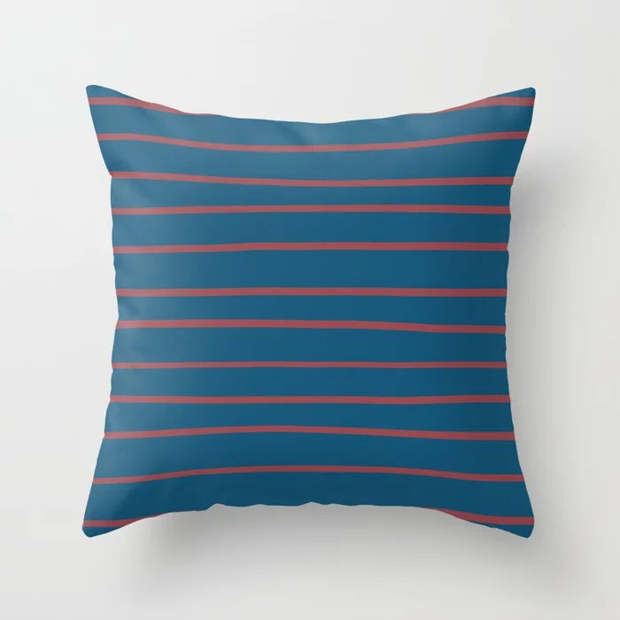 Red Dark Blue Horizontal Stripe Pattern 2021 Color of the Year Passionate and Long Horizon Throw Pillow