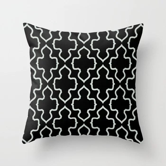 Pastel Green and Black Shape Pattern Throw Pillow Pairs Behr 2022 Color of the Year Breezeway MQ3-21 Throw Pillow. 2022 color scheme, trending interior design hue.