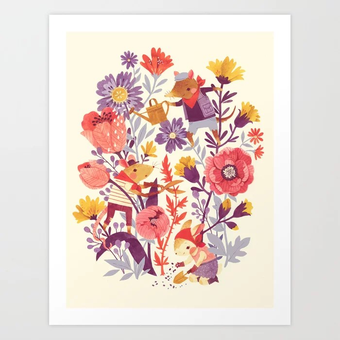 Sunday's Society6 | The garden crew, spring art print with flowers