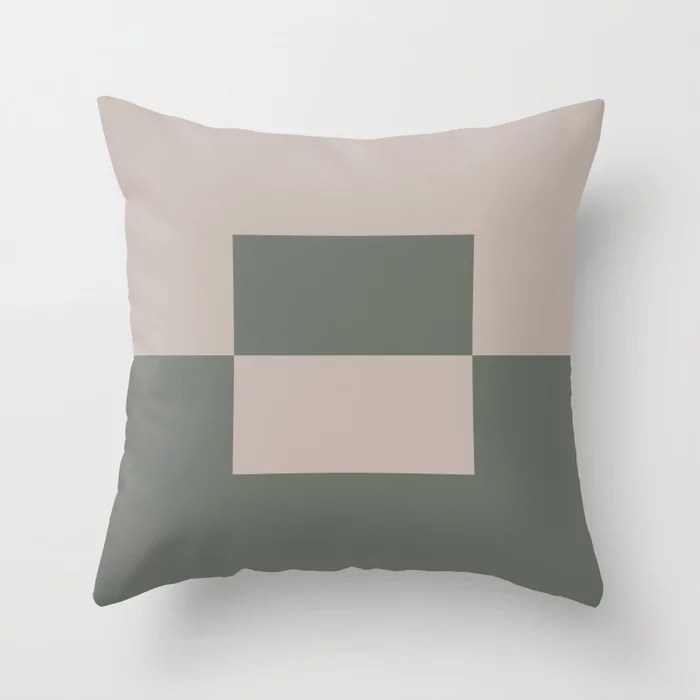 Moody Green Neutral Beige Minimal Square Design 2 2021 Color of the Year Contemplative and Stucco Throw Pillow