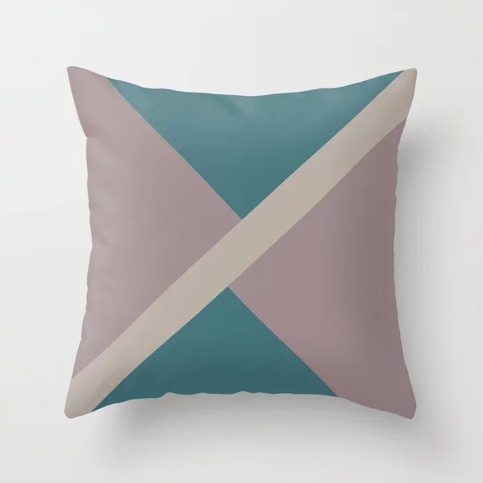 Pink-Purple Aqua Taupe Gray Stripe Design Throw Pillows inspired by and pairs to (matches / coordinates with) Graham and Brown 2021 Color of the Year Epoch and Accent Shades