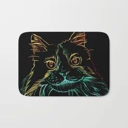 Fluffy Tuxedo Kitty Bath Mat