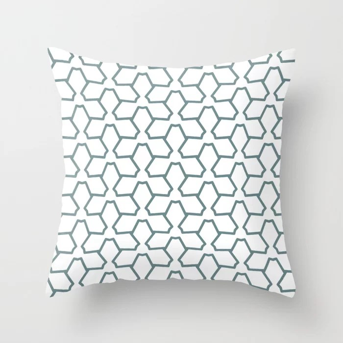 Blue-Green White Line Pattern 12 Abstract Flower 2021 Color of the Year Aegean Teal and Pure White Throw Pillow