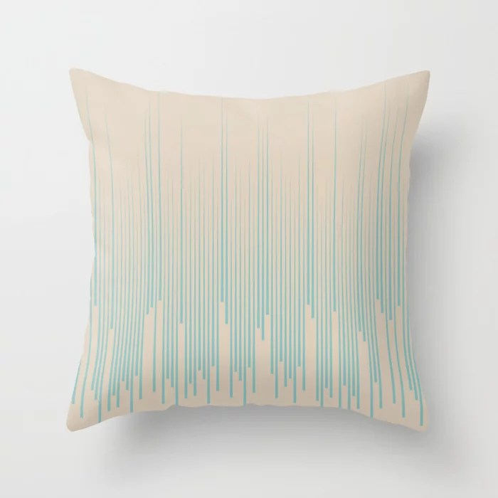 Aqua and Beige Frequency Line Art Pattern 2021 Color of the Year Aqua Fiesta and Sourdough Throw Pillow