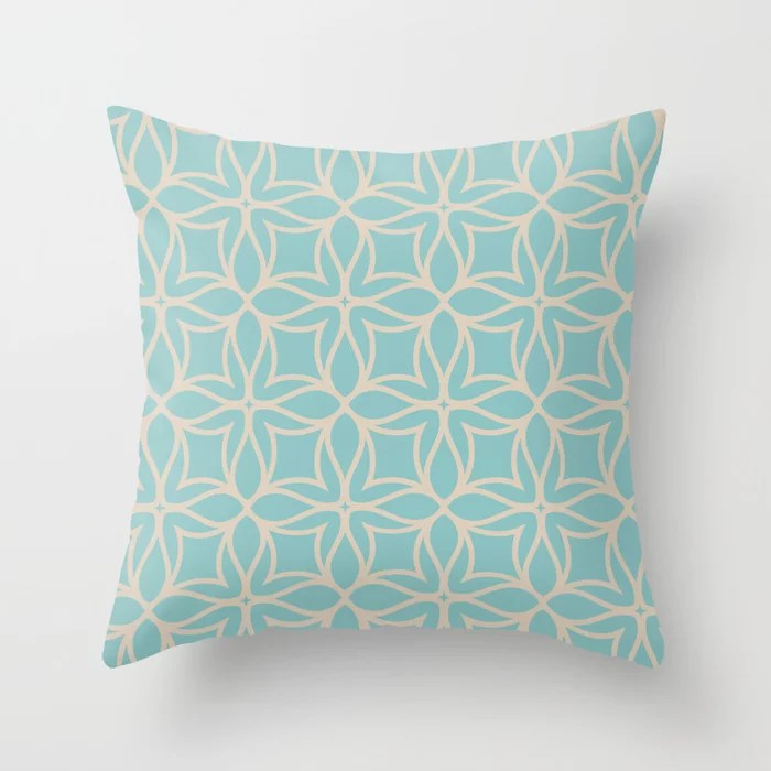 Pastel Teal and Beige Line Art Flower Pattern 2021 Color of the Year Aqua Fiesta and Sourdough Throw Pillow