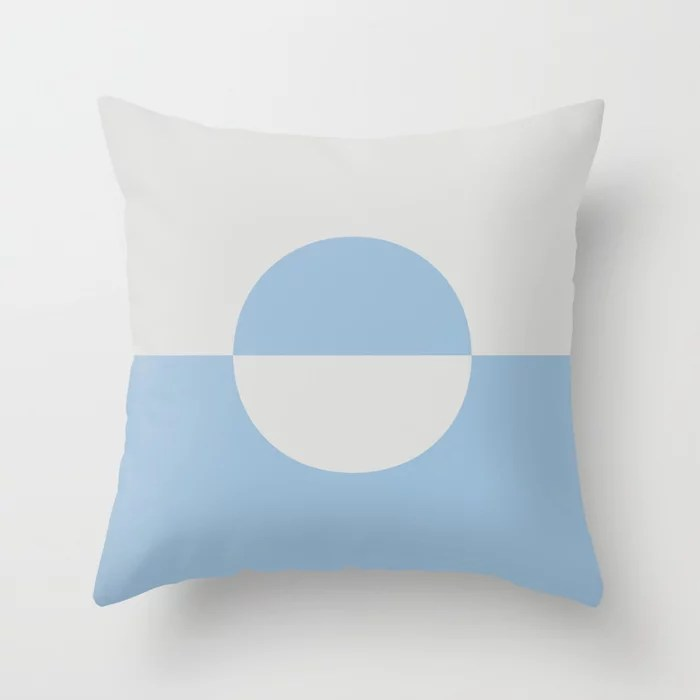 Pastel Blue and Pale Gray Minimal Circle Design 2 Throw Pillows inspired by and pairs to (matches / coordinates with) Dutch Boy 2021 Color of the Year Earth's Harmony and Vapor