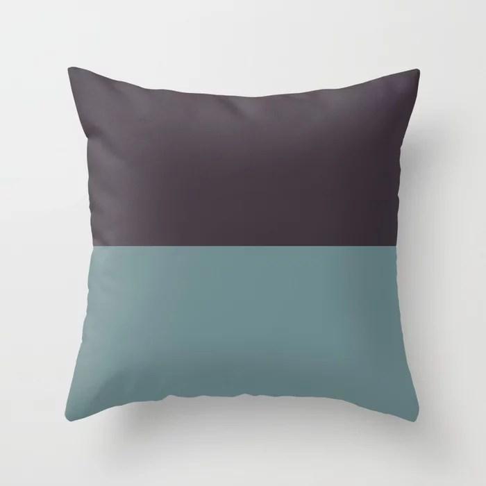 Blue-Green Purple Minimal Horizon Stripe Pattern 2021 Color of the Year Aegean Teal Tulsa Twilight Throw Pillow