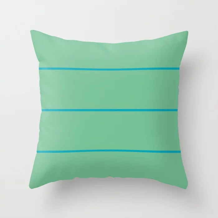 Blue-green Green Sponge Paint Stripe Pattern V2 2021 Color of the Year AI Aqua 098-59-30 Throw Pillow