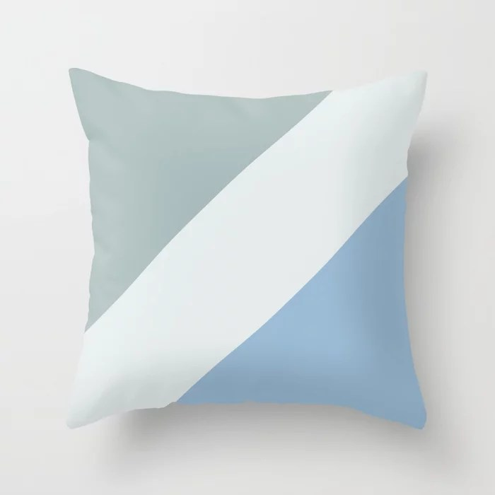 Pastel Blue White Aqua Diagonal Stripe Pattern Throw Pillows inspired by and pairs to (matches / coordinates with) Dutch Boy 2021 Color of the Year Earth's Harmony & Accent Hues