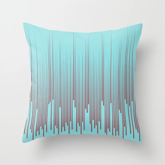 Red Pastel Blue Frequency Line Art Pattern 2021 Color of the Year Passionate and Breezy Aqua Throw Pillow