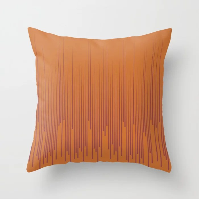Red and Orange Frequency Line Art Pattern 2021 Color of the Year Passionate and Copper Kettle Throw Pillow