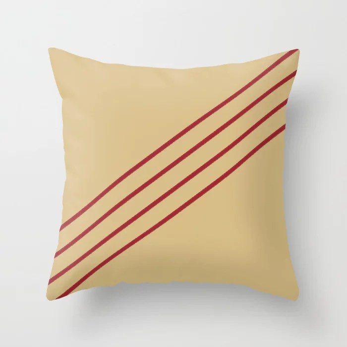 Beige and Red Angled 4 Stripe Pattern 2021 Color of the Year Satin Paprika and Sunlit Brass Throw Pillow