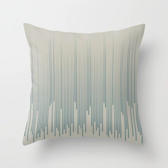 Blue-Green Tan Frequency Line Art Pattern 2021 Color of the Year Aegean Teal and Winterwood Throw Pillow