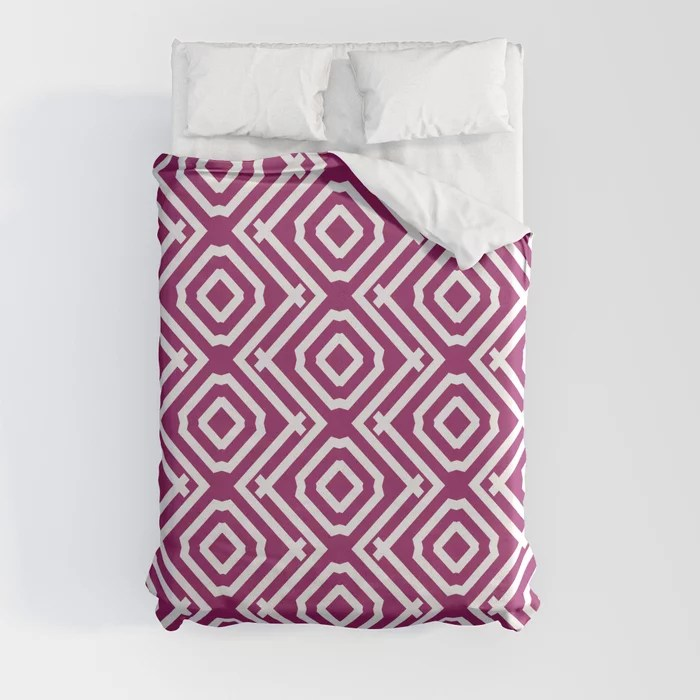 Magenta and White Vertical Stripe Diamond Pattern - Colour of the Year 2022 Orchid Flower 150-38-31 Duvet Cover - color for 2022