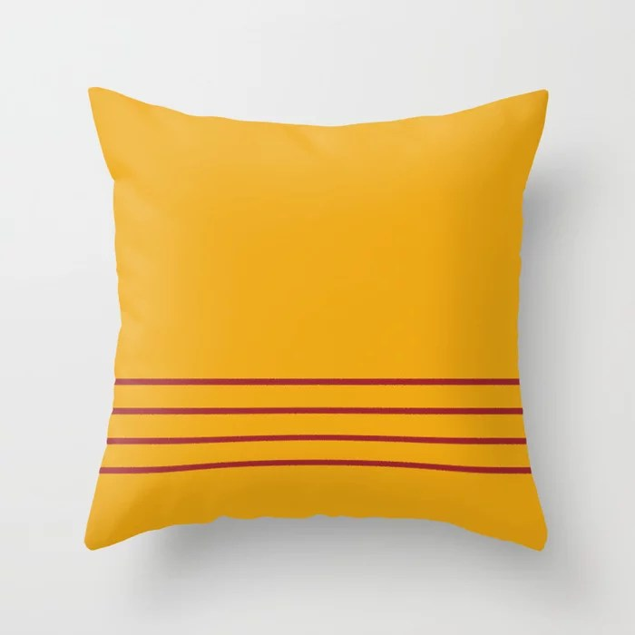Orange and Red Thin 4 Stripe Pattern Rustoleum 2021 Color of the Year Satin Paprika Harvest Peach Throw Pillow