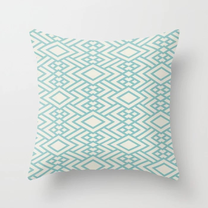 Pastel Teal and Cream Art Deco Line Pattern 2021 Color of the Year Aqua Fiesta and Horseradish Throw Pillow