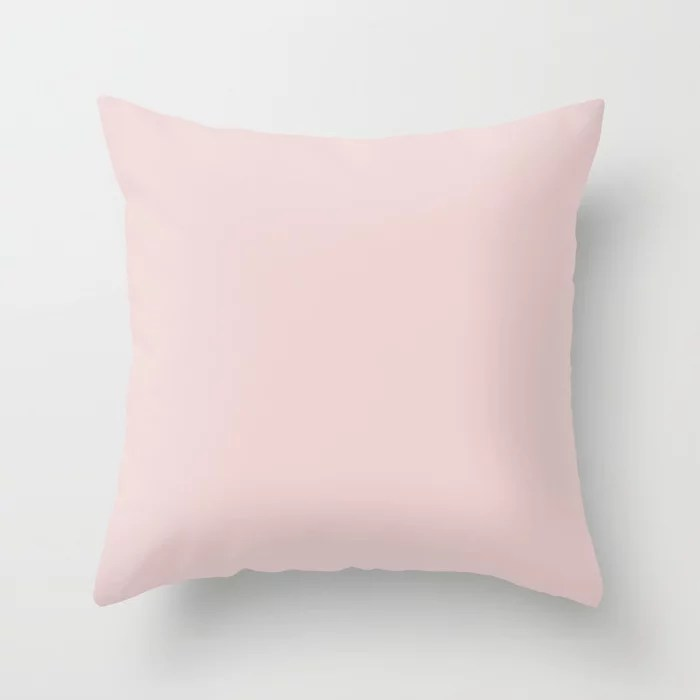Ultra Light Pastel Pink Lemonade Solid Color Matches Sherwin Williams Charming Pink SW 6309 Throw Pillow