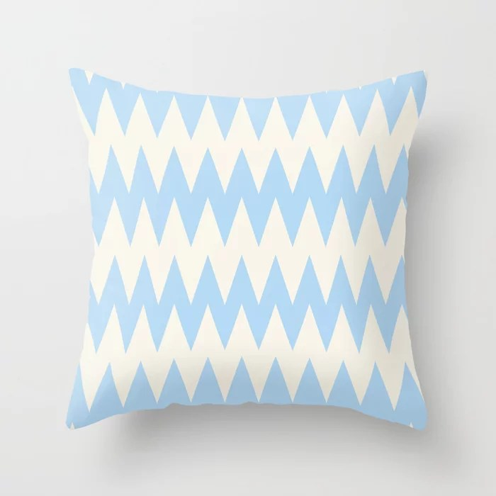 Baby Blue Off-White Zigzag Stripe Pattern 2021 Color of the Year Wild Blue Yonder Swiss Coffee Throw Pillow