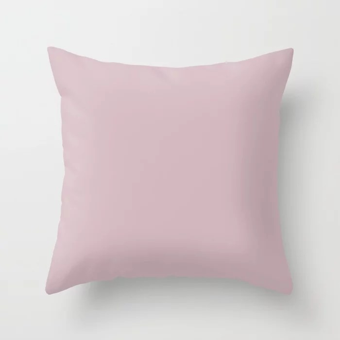 Ultra Light Pastel Lilac Pink Solid Color (Hue / Shade) Matches Sherwin Williams Delightful SW 6289 Throw Pillow