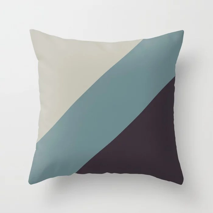 Blue-Green Tan Purple Diagonal Stripe Pattern 2021 Color of the Year Aegean Teal and Accent Shades Throw Pillow