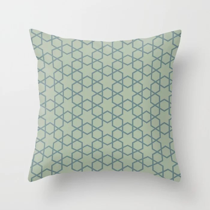 Muted Aqua and Green Abstract Stars and Diamonds 2021 Color of the Year Aegean Teal Salisbury Green Throw Pillow