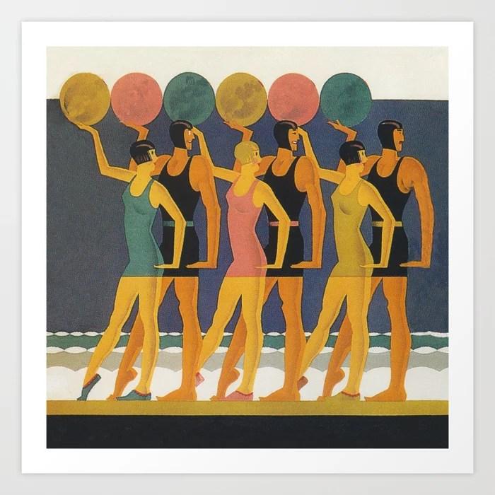 Art Deco Swimwear And Beach Balls Vintage Poster Art Print By Vintagevault Society6