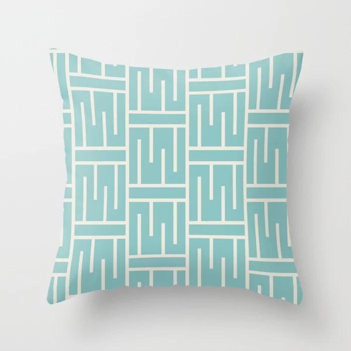 Aqua and Cream Minimal Line Art Pattern 3 2021 Color of the Year Aqua Fiesta and Horseradish Throw Pillow