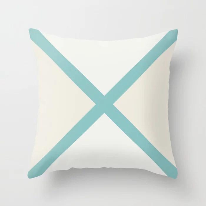 Aqua Cream White Minimal Diagonal Stripes Pattern 2021 Color of the Year Aqua Fiesta & Accent Shades Throw Pillow