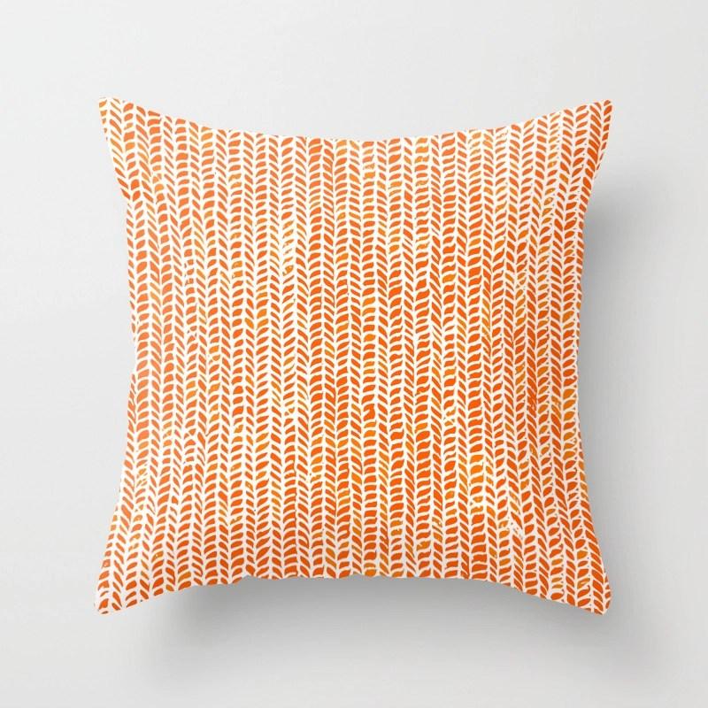 Stockinette Orange Throw Pillow