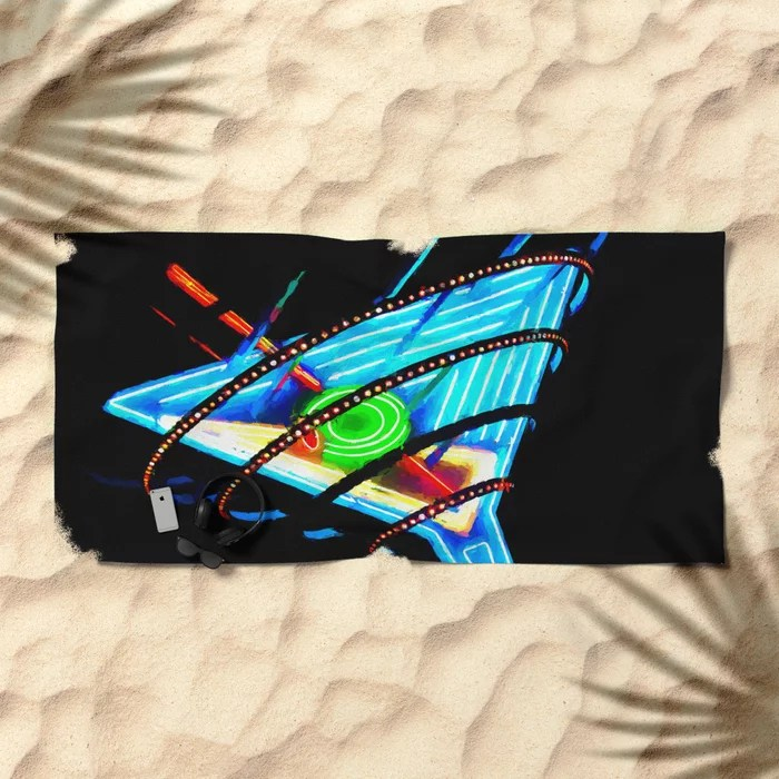 Neon sign Las Vegas Beach Towel