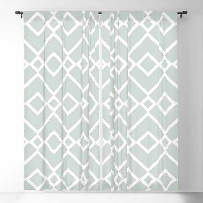 Mint Green and White Tessellation Pattern 23 Behr 2022 Color of the Year Breezeway MQ3-21 Blackout Curtain. Spring/Summer 2022 color forecast