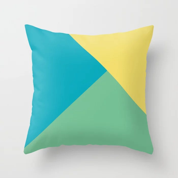 Blue-Green Yellow Green Abstract Pattern 2021 Color of the Year AI Aqua 098-59-30 Throw Pillow