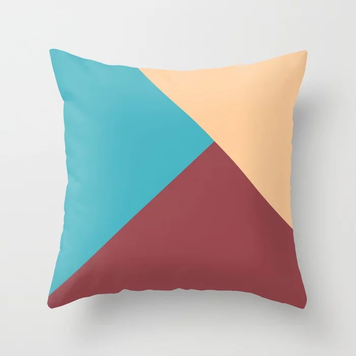 Red Aqua Peach Solid Color Abstract Design Pairs HGTV 2021 Color of the Year Passionate Throw Pillow
