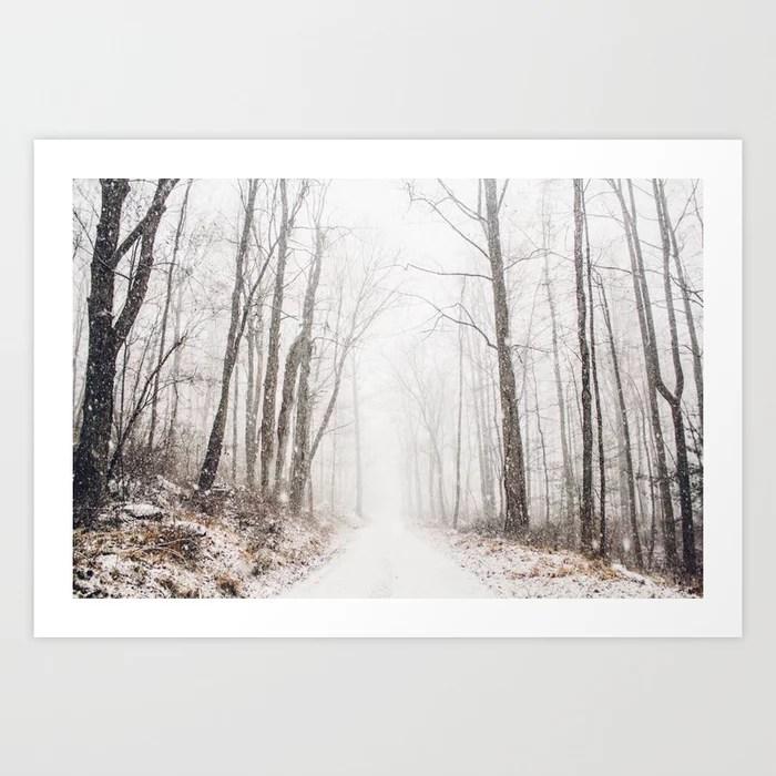 Sunday's Society6   Winter path in winter wonderland art print