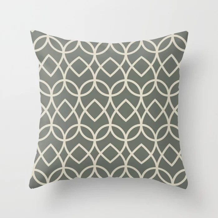 Green Buff Tan Geometric Teardrop Pattern 2021 Color of the Year Contemplative Bleached Pebble Throw Pillow
