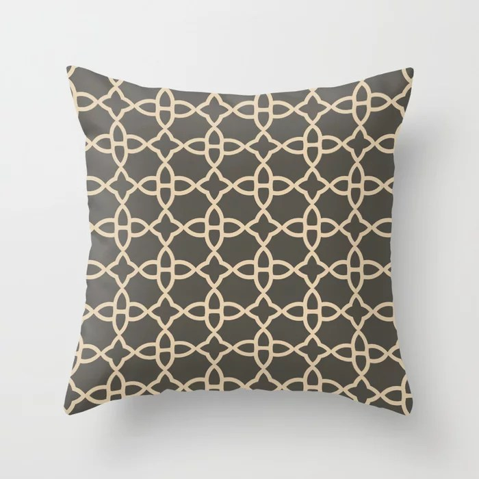 Brown and Tan Minimal Line Art Pattern 4 V2 2021 Color of the Year Urbane Bronze and Ivoire Throw Pillow