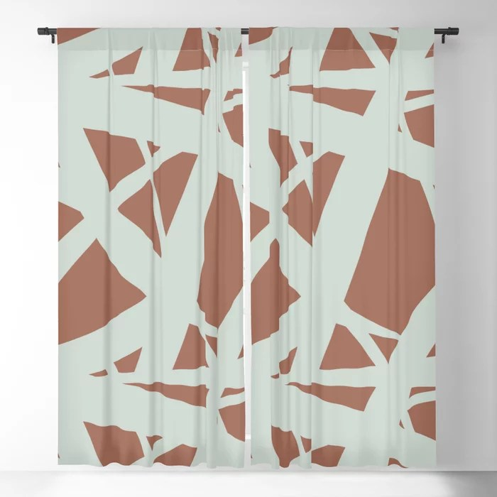 Pastel Green and Clay Abstract Mosaic Pattern 3 Pairs Behr 2022 Color of the Year Breezeway MQ3-21 Blackout Curtain. Decorating colors for 2022