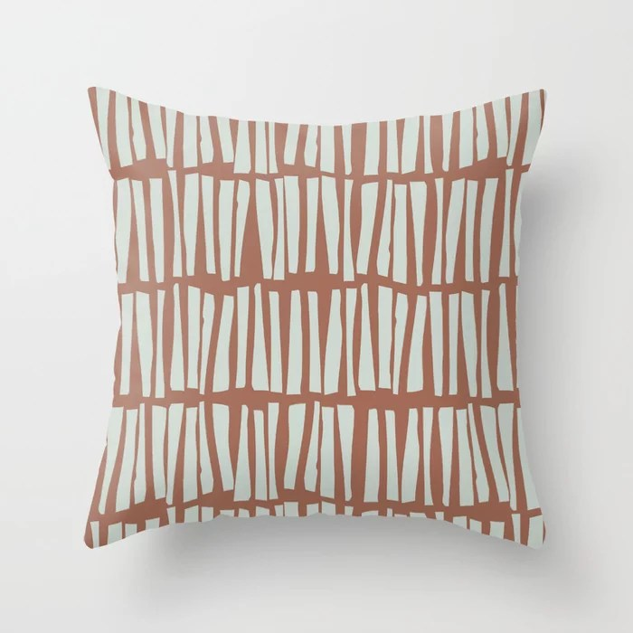 Mint Green and Terracotta Stripe Line Pattern Behr 2022 Color of the Year Breezeway MQ3-21 Throw Pillow. 2022 color scheme, trending interior design hue.