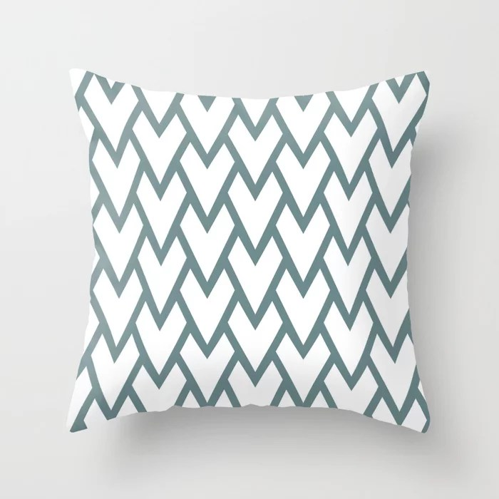 Soft Aqua Blue White Tessellation Line Pattern 17 2021 Color of the Year Aegean Teal Throw Pillow