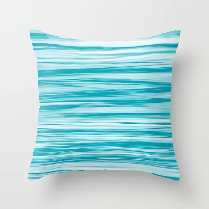 Aqua Blue and White Stripes Watercolor Blend 2021 Color of the Year AI Aqua 098-59-30 Throw Pillow